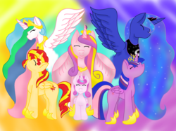 Size: 1024x765 | Tagged: alicorn, alicorn hexarchy, alicornified, alicorn pentarchy, artist:tidalwave322, female, mare, pony, princess cadance, princess celestia, princess flurry heart, princess luna, race swap, safe, shimmercorn, spoiler:s06, sunset shimmer, twilight sparkle, twilight sparkle (alicorn)