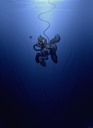 Size: 1024x1408 | Tagged: safe, artist:whitepone, earth pony, fish, pony, crossover, goggles, hose, scuba, seaweed, solo, subnautica, swimming goggles, thalassophobia, underwater, wetsuit