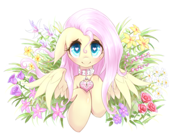 Size: 1280x1008 | Tagged: safe, artist:mlpanon, fluttershy, pegasus, pony, blushing, collar, cute, daaaaaaaaaaaw, female, floppy ears, flower, heart, heart eyes, heart padlock, keyhole, looking at you, mare, padlock, padlocked collar, questionable source, shyabetes, simple background, smiling, solo, white background, wingding eyes