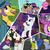 Size: 480x480 | Tagged: safe, blueberry curls, bubblegum blossom, cloudy daze, curtain call, late show, on stage, rarity, stardom, facebook, manehattan, method mares, my little pony logo, official, sunglasses