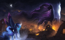 Size: 1920x1200 | Tagged: safe, artist:rain-gear, princess luna, tantabus, alicorn, pony, do princesses dream of magic sheep, background pony, burning, cloud, debris, epic, female, fire, fissure, flag, glowing horn, mare, metal as fuck, moon, nightmare, painting, raised hoof, ruins, scenery, spell, surreal