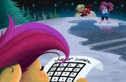 Size: 1280x828 | Tagged: safe, artist:bunnimation, applejack, pinkie pie, scootaloo, apple japyrus, crossover, forest, frisk, friskaloo, ice, impossible, night, papyrus (undertale), puzzle, sans (undertale), sans pie, snow, stars, tree, trio, undertale, word search