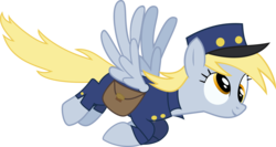 Size: 2805x1487 | Tagged: safe, artist:mahaugher, derpy hooves, pegasus, pony, clothes, female, food, hat, mail, mailmare, mare, muffin, simple background, transparent background, vector