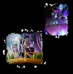 Size: 3402x3468 | Tagged: safe, artist:ruhisu, idw, king sombra, radiant hope, crystal pony, pony, crystal empire, female, good king sombra, hopebra, male, princess radiant hope, queen radiant hope, shipping, straight