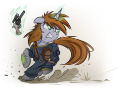 Size: 1024x745 | Tagged: safe, artist:allyster-black, artist:ncmares, artist:ralek, oc, oc only, oc:littlepip, pony, unicorn, fallout equestria, action pose, badass, clothes, collaboration, fanfic, fanfic art, female, glowing horn, gritted teeth, gun, gunfire, handgun, hooves, horn, jumpsuit, levitation, little macintosh, looking at something, magic, mare, optical sight, pipbuck, pipleg, revolver, simple background, solo, teeth, telekinesis, transparent background, vault suit, weapon