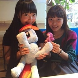 Size: 320x320 | Tagged: safe, pinkie pie, rainbow dash, human, irl, irl human, izumi kitta, japan, nici, photo, plushie, suzuko mimori, toy, voice actor