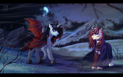 Size: 1918x1200 | Tagged: safe, artist:margony, oc, oc only, bat pony, pony, cloak, clothes, forest, moon, mountain, night, scenery, snow, stars