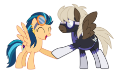 Size: 1920x1080 | Tagged: safe, artist:luckyclau, dumbbell, indigo zap, pony, alternate universe, crystal prep shadowbolts, equestria girls ponified, goggles, piercing, ponified, shadowbolts, simple background, transparent background