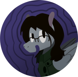 Size: 720x711 | Tagged: safe, artist:enma-darei, oc, oc only, oc:mortimer hooves, pegasus, pony, clothes, glasses, jacket, male, portrait, solo, stallion