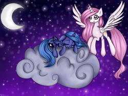 Size: 1600x1200 | Tagged: artist:katkakakao, cloud, crescent moon, cute, eyes closed, floppy ears, flying, missing accessory, moon, night, pink-mane celestia, princess celestia, princess luna, prone, s1 luna, safe, sleeping, smiling, spread wings, stars, younger