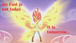 Size: 1200x675 | Tagged: christianity, christian sunset shimmer, equestria girls, fast, glow, image macro, lent, meme, my past is not today, pun, religion, religious focus, religious headcanon, safe, sunset phoenix, sunset shimmer