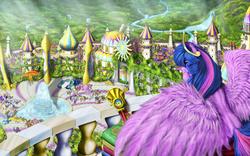 Size: 6000x3750 | Tagged: dead source, safe, artist:weabb, donut joe, fancypants, filthy rich, flash sentry, fleetfoot, fleur-de-lis, golden gavel, hoity toity, jet set, lyrica lilac, ms. harshwhinny, philomena, photo finish, prim hemline, prince blueblood, princess cadance, princess celestia, princess luna, royal ribbon, sapphire shores, sea swirl, seafoam, shining armor, silver frames, soarin', spitfire, swan song, trenderhoof, twilight sparkle, upper crust, vance van vendington, alicorn, phoenix, pony, absurd file size, absurd resolution, amusement park, armor, balcony, camera, canterlot, equestrian flag, female, ferris wheel, fluffy, fountain, implied flashlight, large wings, mare, realistic, royal guard, scenery, scenery porn, solo focus, spear, twilight sparkle (alicorn), weapon