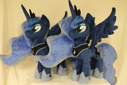 Size: 2256x1504 | Tagged: safe, artist:whitedove-creations, princess luna, pony, irl, photo, plushie, self ponidox, solo, spread wings, the fun has been doubled