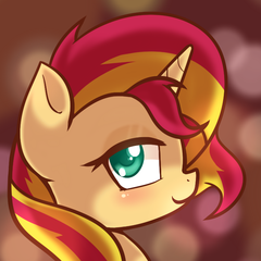 Size: 700x700 | Tagged: artist:hankofficer, bust, colored pupils, lidded eyes, looking at you, portrait, safe, smiling, solo, sunset shimmer
