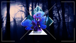 Size: 1920x1080 | Tagged: safe, artist:antylavx, artist:miikanism, edit, princess luna, alicorn, pony, female, mare, mini, reflection, shadow, silly, silly pony, sitting, solo, tongue out, tree, vector, wallpaper, wallpaper edit