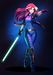 Size: 990x1400 | Tagged: artist:bakki, clothes, colored pupils, commission, crossover, female, full body, human, humanized, jedi, lightsaber, mara jade, safe, smiling, solo, star wars, sunset shimmer, weapon