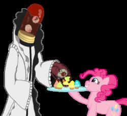 Size: 763x698 | Tagged: safe, artist:unbiased philosopher, pinkie pie, aaroniero arruruerie, bleach (manga), crossover, cupcake, eating, food, simple background, smiling, transparent background