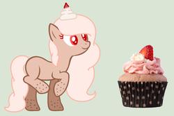 Size: 1364x912 | Tagged: safe, artist:thunderlist, oc, oc only, oc:sweetiecream, cupcake, cupcake pony, food, solo