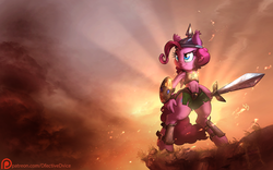 Size: 1920x1200 | Tagged: safe, alternate version, artist:dfectivedvice, artist:vest, pinkie pie, anthro, abs, colored, ear fluff, female, helmet, heroic posing, patreon, patreon logo, pi, protection, shield, solo, sword, wallpaper, weapon