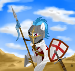 Size: 1279x1208 | Tagged: safe, artist:novich, dj pon-3, vinyl scratch, christianity, cross, crusade, crusader, desert, fantasy class, holy war, kingdom of heaven, kingdom of jerusalem, knight, middle ages, military, military uniform, paladin, religious headcanon, solo, warrior
