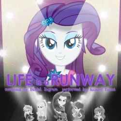 Size: 1080x1080 | Tagged: safe, artist:cejs94, artist:joeycrick, bon bon, cheerilee, derpy hooves, lyra heartstrings, rarity, sweetie drops, equestria girls, life is a runway, rainbow rocks, album cover, daniel ingram, kazumi evans, music