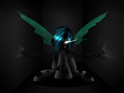 Size: 4000x3000 | Tagged: safe, artist:verimors, oc, oc only, changeling, chains, solo