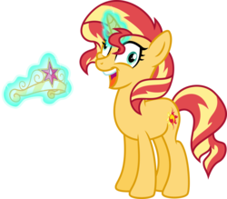 Size: 5590x4904 | Tagged: safe, artist:osipush, sunset shimmer, pony, unicorn, equestria girls, absurd resolution, element of magic, i didn't listen, insanity, magic, simple background, snapset shimmer, solo, this will end in tears, transparent background, vector