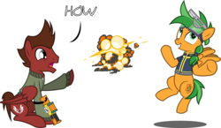 Size: 5730x3333 | Tagged: safe, artist:outlawedtofu, oc, oc only, oc:atom smasher, oc:mach, pegasus, pony, fallout equestria, fallout equestria: duck and cover, fallout equestria: outlaw, clothes, duo, explosion, goggles, jacket, nerf, shrug, shutter shades, simple background, text, transparent background, vector