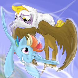 Size: 1280x1280 | Tagged: safe, artist:malus22, gilda, rainbow dash, griffon, the lost treasure of griffonstone, spoiler:s05, female, flying, gildash, interspecies, lesbian, shipping