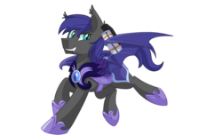 Size: 1980x1200 | Tagged: safe, artist:itstaylor-made, oc, oc only, oc:au hasard, bat pony, pony, armor, counter-strike, counter-strike: global offensive, fangs, grenade, night guard, royal guard, running, slit eyes, smoke grenade, solo