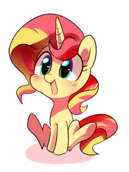 Size: 900x1200   Tagged: safe, artist:sion-ara, sunset shimmer, pony, unicorn, blushing, chibi, cute, female, mare, open mouth, shimmerbetes, simple background, sitting, smiling, solo, white background