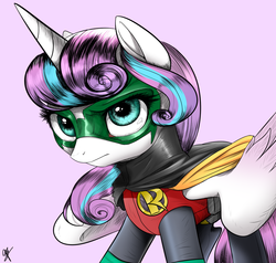 Size: 1000x950 | Tagged: safe, artist:supermare, princess flurry heart, spoiler:s06, crossover, damian wayne, dc comics, older, older flurry heart, robin, solo