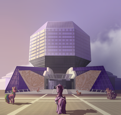 Size: 1200x1140 | Tagged: safe, artist:28gooddays, twilight sparkle, oc, alicorn, pony, belarus, female, library, lutece twins, mare, national library of belarus, nightmode, scenery, scenery porn, twilight sparkle (alicorn)
