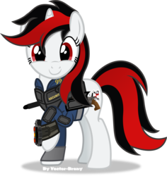 Size: 4053x4290 | Tagged: safe, artist:vector-brony, oc, oc only, oc:blackjack, oc:go fish, pony, unicorn, fallout equestria, fallout equestria: project horizons, absurd resolution, clothes, cute, cutie mark, fanfic, fanfic art, female, happy, hooves, horn, mare, pipbuck, raised hoof, simple background, smiling, solo, transparent background, vault security armor, vault suit, vector