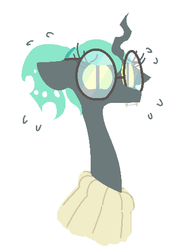 Size: 363x515   Tagged: dead source, safe, artist:nobody, queen chrysalis, changeling, changeling queen, braces, clothes, dork, dorkalis, female, glasses, lineless, looking at you, nerd, simple background, solo, sweater, white background