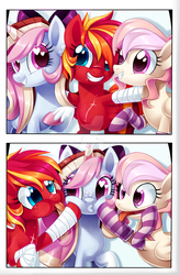 Size: 1024x1565 | Tagged: artist:centchi, bow, clothes, comic, female, hair bow, mare, oc, oc:cuddle bug, oc:fire strike, oc:neigh-apolitan, oc only, photo booth, pony, safe, scar, silly, socks, striped socks, tongue out, watermark