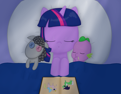 Size: 3300x2550 | Tagged: safe, artist:poppun, smarty pants, spike, twilight sparkle, dragon, pony, unicorn, baby, baby dragon, baby spike, bed, blanket, book, cute, doll, eyes closed, female, filly, filly twilight sparkle, male, mama twilight, pillow, sleeping, spikabetes, spikelove, story book, toy, twiabetes