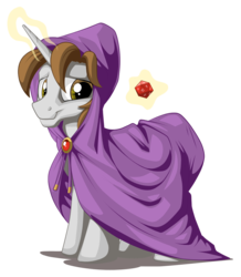 Size: 1015x1166 | Tagged: safe, artist:mysticalpha, oc, oc only, oc:thrum beat, pony, unicorn, d20, dungeon master, dungeons and dragons, hooded, magic, mantle, natural 20, simple background, transparent background