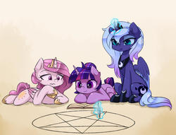 Size: 2190x1670 | Tagged: safe, artist:magnaluna, princess celestia, princess luna, twilight sparkle, 3:, book, cewestia, colored wings, colored wingtips, crown, filly, heart eyes, jewelry, levitation, magic, magic circle, pentagram, pink-mane celestia, prone, reading, regalia, s1 luna, sitting, smiling, telekinesis, this will end in tears, this will end in tears and/or death, this will not end well, wingding eyes, woona, worried, younger