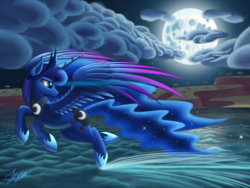 Size: 4000x3000   Tagged: safe, artist:duskie-06, princess luna, alicorn, absurd resolution, blue eyes, cloud, crown, ethereal mane, eyelashes, female, flying, hoof shoes, horn, jewelry, looking back, moon, night, ocean, regalia, signature, solo, sparkles, spread wings, stars, tree, water, wings