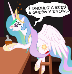 Size: 2072x2136 | Tagged: safe, artist:badumsquish, derpibooru exclusive, princess celestia, alicorn, pony, alcohol, bar, blushing, breaking the fourth wall, bronybait, complaining, depressed, depressedia, dialogue, drinking, drunk, drunk bubbles, drunk celestia, drunklestia, female, food, messy mane, offscreen character, open mouth, pov, sitting, solo, speech bubble, spread wings, stool, story in the comments, story included, talking to viewer, whiskey