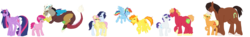 Size: 8500x1250 | Tagged: safe, artist:catsglade, applejack, big macintosh, discord, fluttershy, pinkie pie, rainbow dash, rarity, soarin', spitfire, trouble shoes, twilight sparkle, alicorn, draconequus, earth pony, pegasus, pony, unicorn, discopie, female, lesbian, male, mare, rarimac, shipping, simple background, size difference, soarinshy, spitdash, straight, transparent background, troublejack, twilight sparkle (alicorn)
