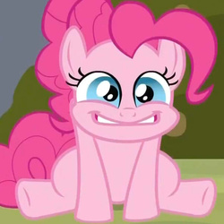 Size: 600x600 | Tagged: safe, screencap, pinkie pie, earth pony, pony, a friend in deed, bags under eyes, cropped, cute, diapinkes, excited, faic, female, mare, reaction image, round eyes, sitting, solo
