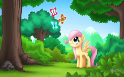 Size: 2560x1600 | Tagged: safe, artist:mysticalpha, fluttershy, butterfly, the cutie mark chronicles, cute, female, filly, filly fluttershy, forest, hair over one eye, shyabetes, solo, younger