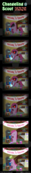 Size: 600x3263 | Tagged: safe, artist:vavacung, pinkie pie, changeling, comic:changeling-scout, :3, book, cake, chair, comic, cute, cuteamena, diapinkes, fire, food, hush now quiet now, lighter, lullaby, magic, music, nom, party, pin the tail on the pony, pinkamena diane pie, radio, reading, snickers, song, telekinesis, you're not you when you're hungry
