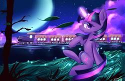 Size: 1683x1089 | Tagged: safe, artist:kawaiipony2, twilight sparkle, alicorn, pony, female, mare, solo, train, twilight sparkle (alicorn)