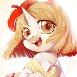 Size: 591x591 | Tagged: artist:ciciya, beret, clothes, female, hat, oc, oc only, pony, safe, solo, unicorn