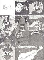 Size: 770x1038   Tagged: safe, artist:eternaljonathan, nightmare moon, princess celestia, alicorn, pony, black and white, burrito, butt, comedy, comic, fart, fart noise, female, food, gas, grayscale, humor, inflation, mare, onomatopoeia, plot, sound effects, traditional art