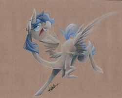 Size: 1017x815 | Tagged: source needed, safe, artist:getchanoodlewet, oc, oc only, oc:sapphire sights, pegasus, pony, abstract, flying, piercing, solo, traditional art