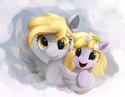 Size: 1537x1200 | Tagged: safe, artist:scootiebloom, derpy hooves, dinky hooves, pegasus, pony, cute, derpabetes, dinkabetes, equestria's best mother, female, hug, mare, mother and daughter, winghug